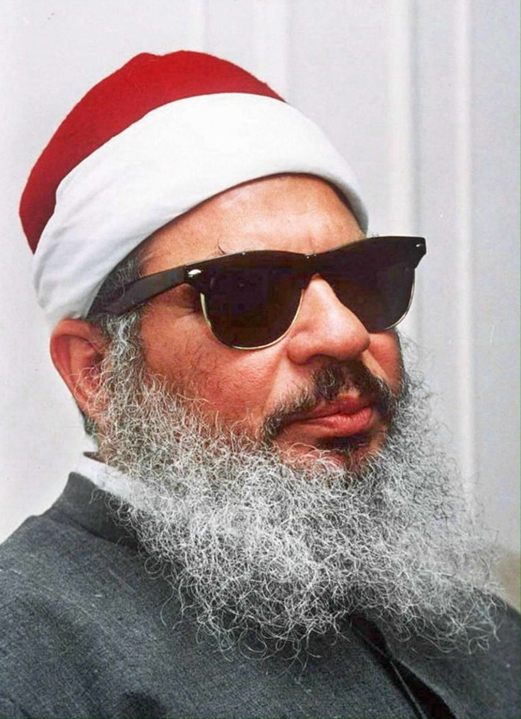 A 1993 photo shows Sheikh Omar Abdel Rahman, who is serving a life sentence in the U.S. for his role in terrorist attacks, including an explosion at the World Trade Center in 1993. The U.S. is under pressure to transfer him to the Mideast because of his age and health, but an informant says he is still too dangerous be let free.