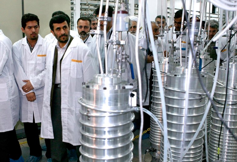Iranian President Mahmoud Ahmadinejad (2nd L) visits the Natanz nuclear enrichment facility, 350 km (217 miles) south of Tehran, in this April 8, 2008...
