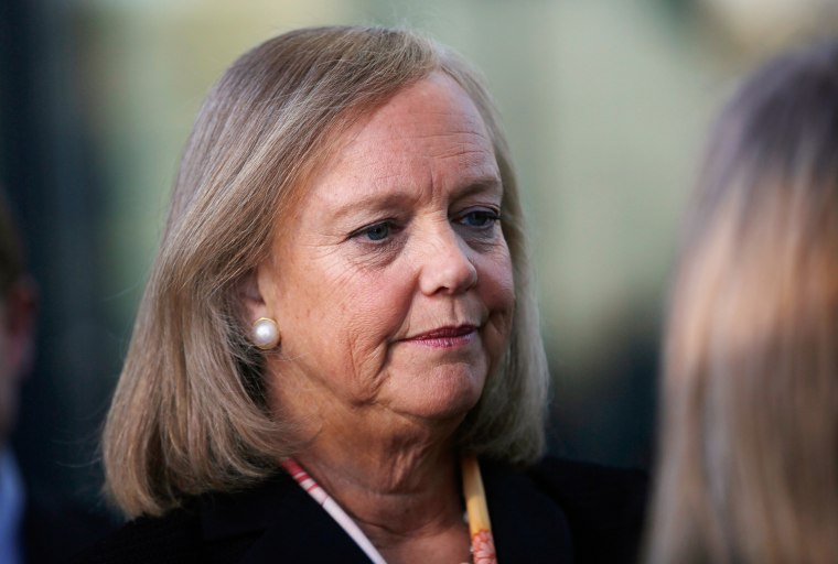 Meg Whitman, HP's chief executive officer and president, at a meeting on Jan. 16. She says she has had a change of heart on the issue of gay marriage.