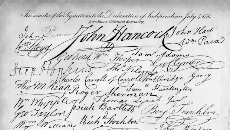 4th July 1776: The signatures on the Declaration of Independence, a document in which American colonists proclaimed their political separation from British rule. (Photo by Hulton Archive/Getty Images)