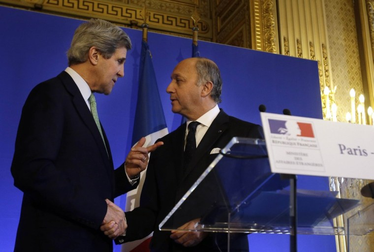 Secretary of State John Kerry, left, shakes hands after a news conference with French Minister of Foreign Affairs Laurent Fabius at the Foreign Ministry in Paris on Wednesday.