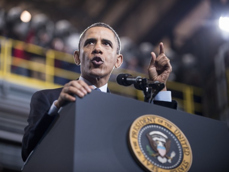 President Barack Obama speaks about automatic budget cuts set to take effect Friday during an event at Newport News Shipbuilding Feb. 26, 2013 in Newport News, Va.