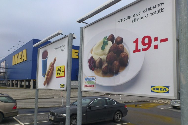 Advertising for Ikea meat balls at the parking area at an Ikea store in Malmo Sweden Monday Feb. 25, 2012.