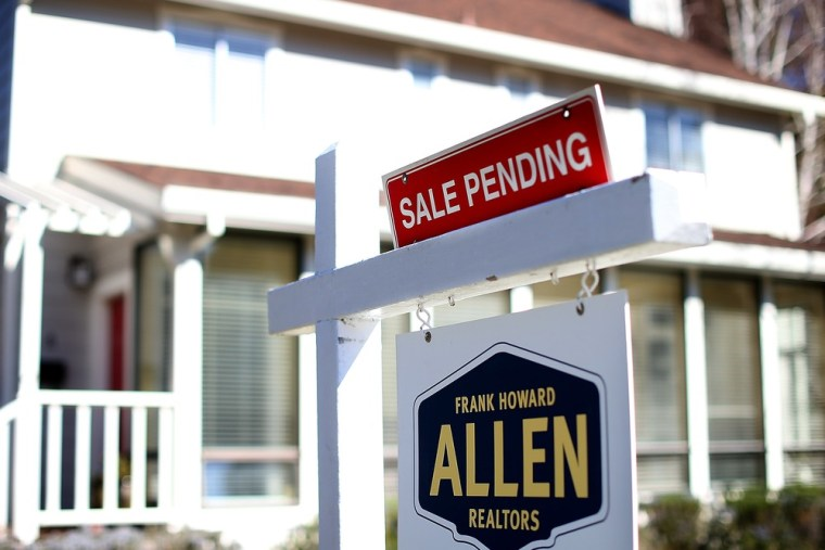 A sale pending sign stands in front of a home for sale on February 21, 2013 in Larkspur, California.