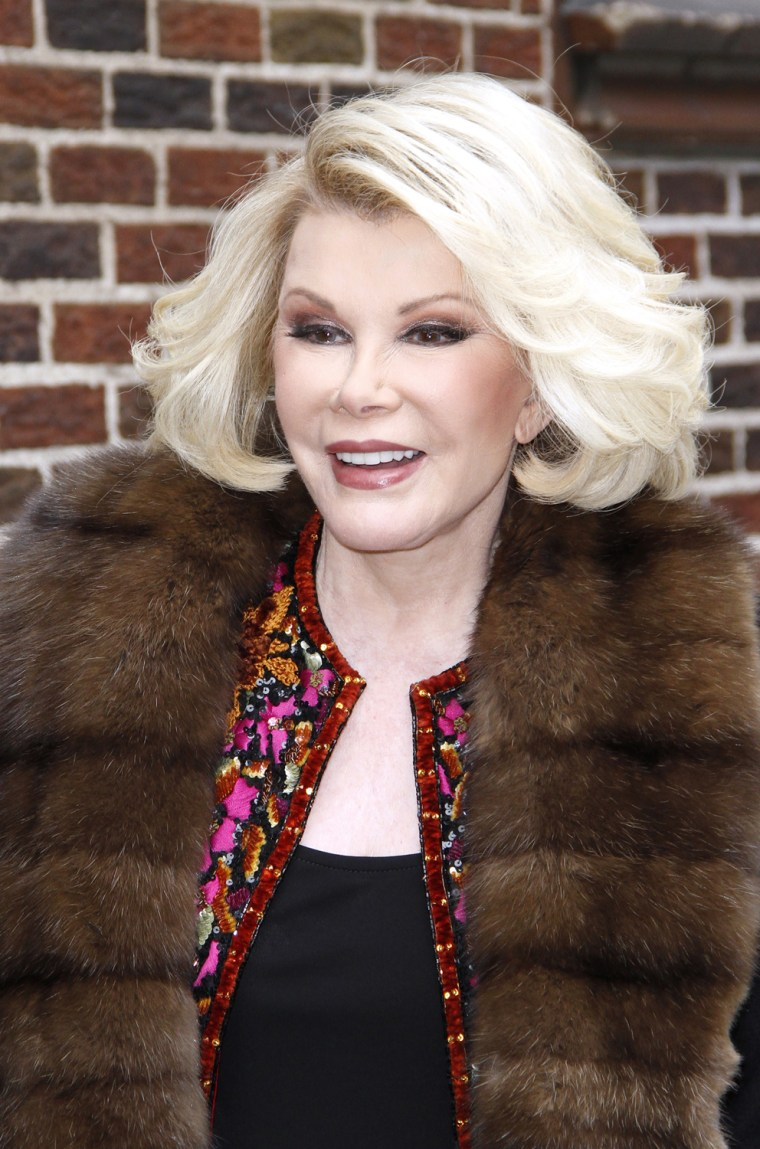 """Joan Rivers arrives for """"Late Show With David Letterman"""" on Tuesday."""