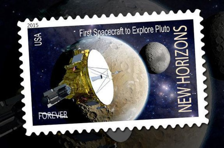Artist Dan Durda's concept for a U.S. postage stamp honoring the New Horizons mission to Pluto.