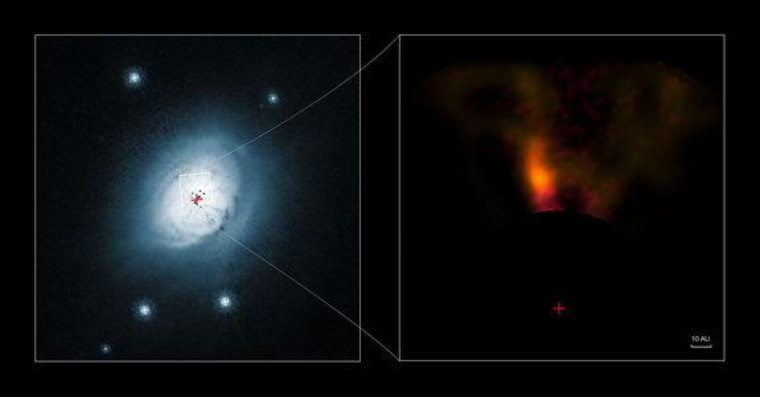 This composite image shows views of the gas and dust around the young star HD 100546, as seen by the Hubble Space Telescope (left) and from the NACO system on the European Southern Observatory's Very Large Telescope (right).