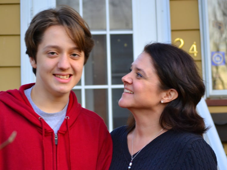 Tim Bumpus, age 14, and his mom Catzell Bumpus, at their Bloomfield New Jersey home.