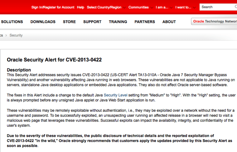 Part of Oracle's Web page about Java fix.