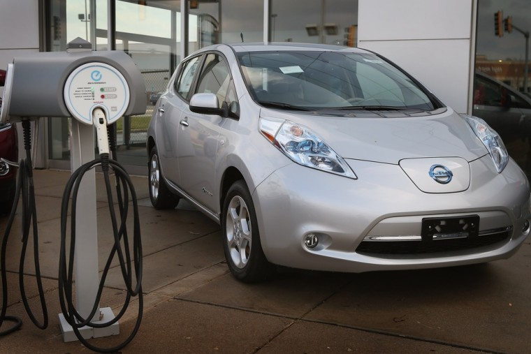 A Nissan Leaf electric vehicle is displayed at Star Nissan on Dec. 3, 2012, in Niles, Ill.