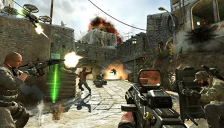 """This undated publicity image released by Activision shows soldiers and terrorists battling in the streets of Yemen in a scene from the video game, """"Call of Duty: Black Ops II."""""""