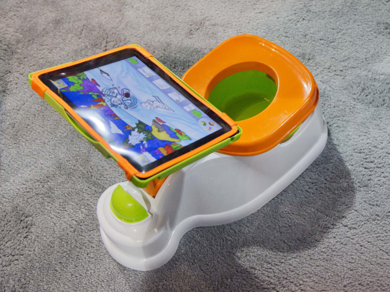The iPotty for iPad potty training device is see on display at the Consumer Electronics Show, Wednesday, Jan. 9, 2013, in Las Vegas. No app is availab...