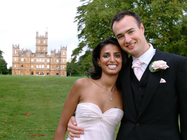 """Not just for the Crawley family: Sunita Gale and her husband booked Highclere Castle, the location of \""""Downton Abbey,\"""" for their wedding."""