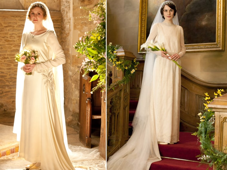 "Fictional fantasy: ""Downton Abbey"" characters Lady Edith Crawley and Lady Mary Crawley posed in their wedding gowns at their scenic estate."