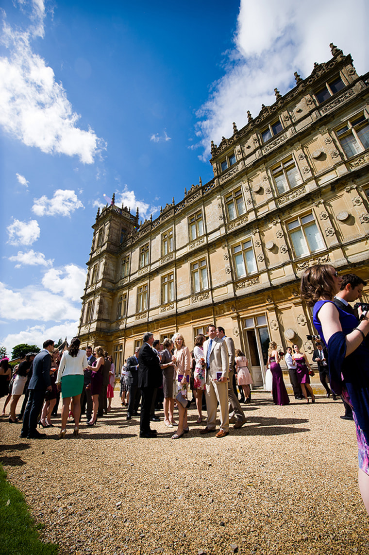 Guests arrive at Highclere Castle to celebrate Sarah Ashley's wedding.