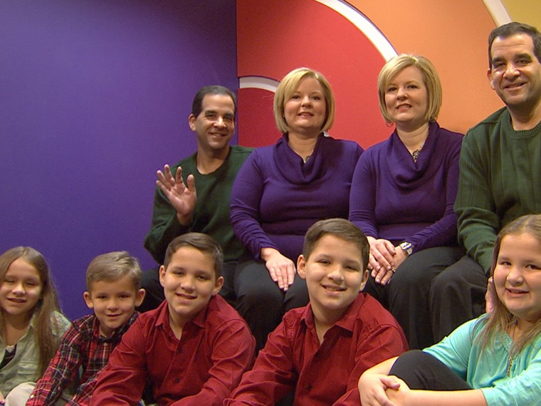 Identical twins Mark and Craig Sanders appeared on TODAY with their wives, identical twins Diane and Darlene Sanders, and their combined five children, including Craig and Diane's identical twin boys, Colby and Brady.