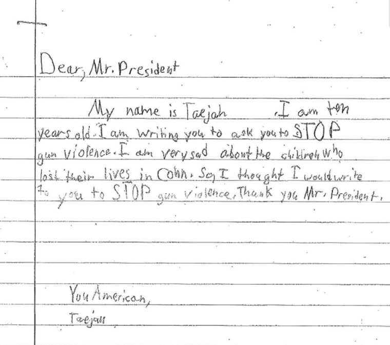 The letter written by Taejah, 10.