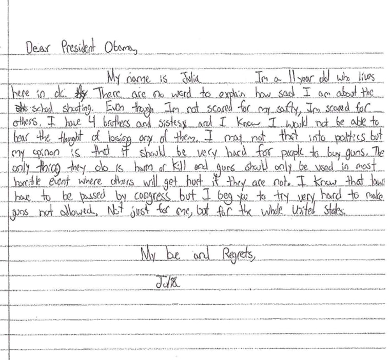Julia, 11, sent this letter to the White House.