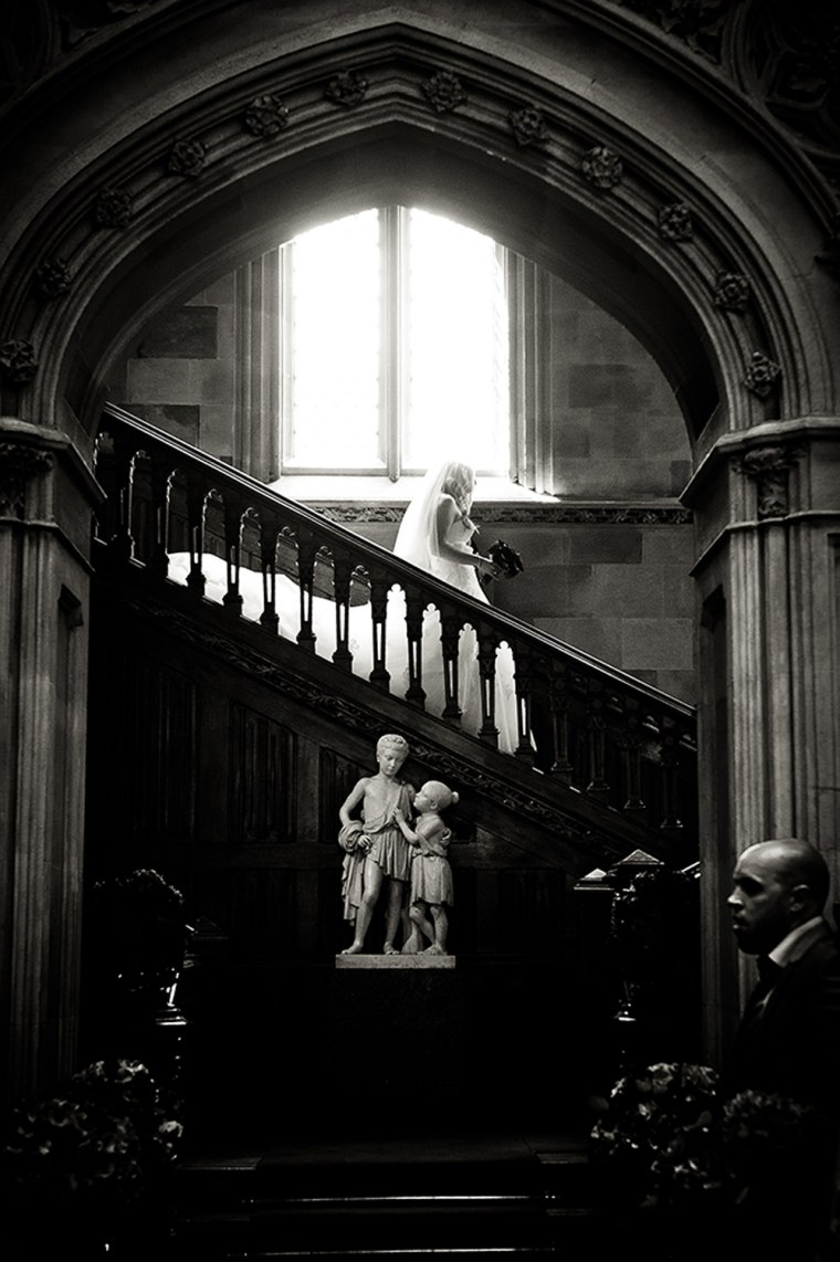 "Sarah Ashley was thrilled to hold her wedding at Highclere and walk down the grand staircase seen on ""Downton Abbey."""