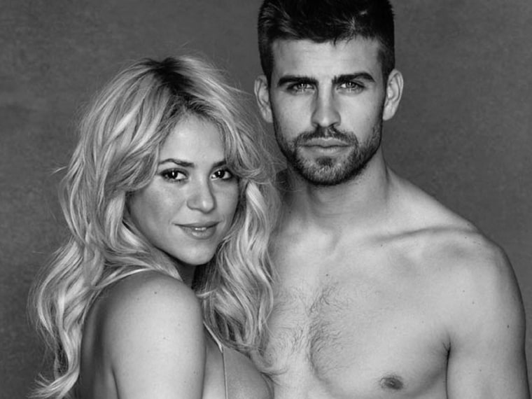 In this undated photo provided by UNICEF, Columbian born singer Shakira poses while pregnant with Spanish soccer player Gerard Piqué. World-famous sin...