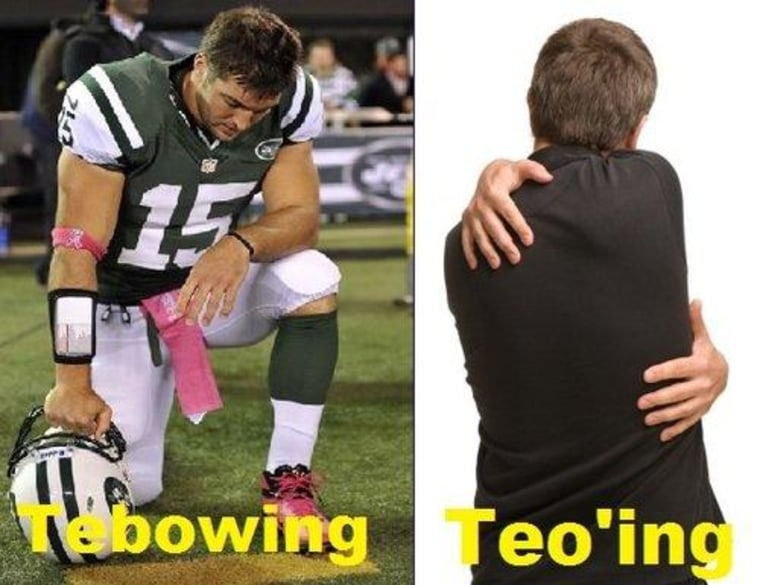 """Get it? See, 'cause """"Tebowing"""" and """"Teoing"""" sound similar, so that makes it funny. Get it now?!"""