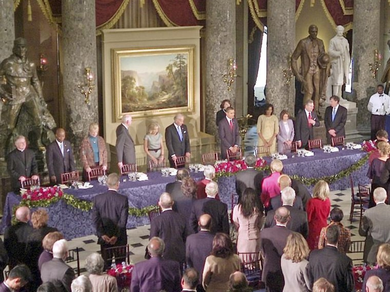 The 2009 inaugural luncheon for President Barack Obama at National Statuary Hall had a celebratory feel and mouthwatering food. Monday's luncheon is expected to feature the same ingredients.
