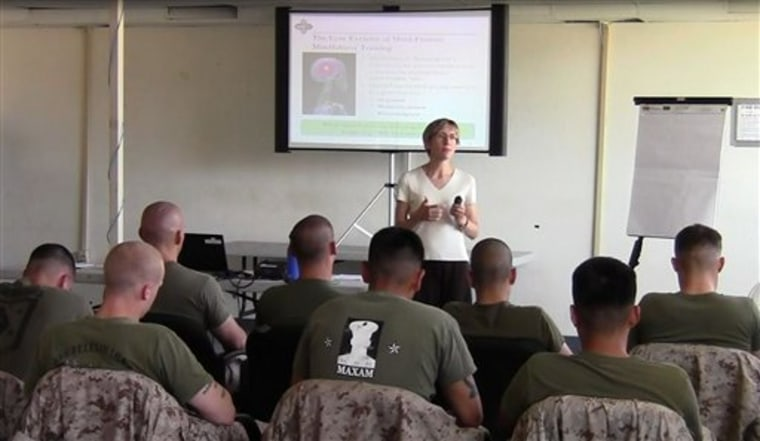 Dr. Elizabeth Stanley leads a class of U.S. Marines at Camp Pendleton, Calif., as part of a 2011 experiment in using mindfulness to turn down the ongoing internal chatter about the past and future.