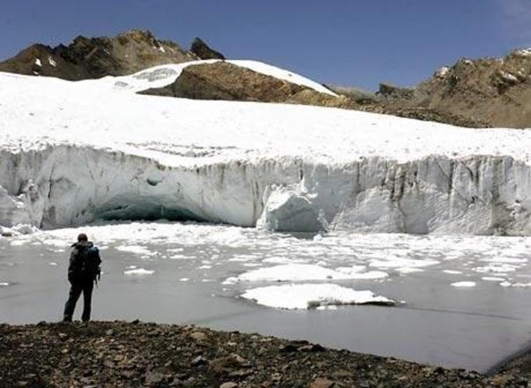 Part of the Pastoruri glacier is seen atop Peru's Cordillera Blanca, or