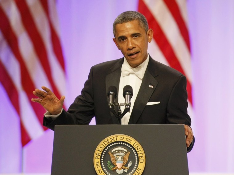 President Barack Obama speaks at the Commander in Chief's Ball during presidential inauguration ceremonies in Washington, Jan. 21, 2013.