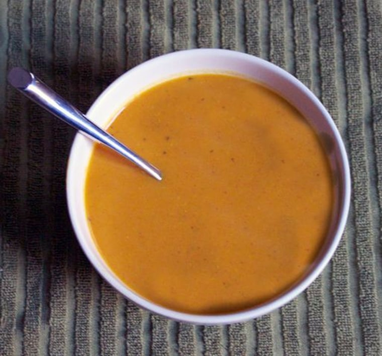 Celebrate National Soup Month with smooth curried pear and butternut squash soup.