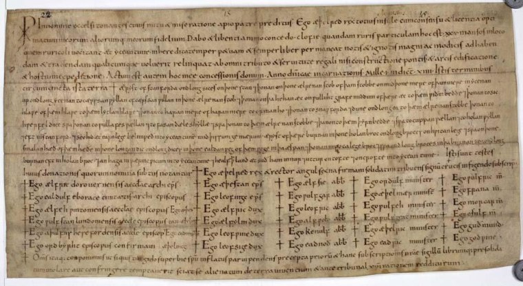 A medieval charter, by King Aethelred, written in the year 1001. Many such charters are undated, but a new computer program helps determine their year of origin.