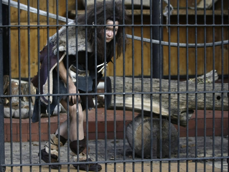 A volunteer dressed as a Neanderthal woman walks inside a cage at the Warsaw Zoo in Poland. Volunteers agreed to dress like Neanderthals and spend hours locked up in cages in an effort to educate the public that apes should be treated with respect. So how would neo-Neanderthals be treated?