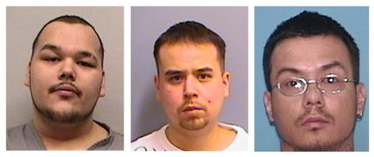 These undated 2012 photos provided by the Minnesota Department of Corrections show Arthur Francis Cree, left, William Earl Morris, center, and a photo provided by the U.S. Marshall's Service shows Wakinyon Wakan McArthur, right. The three members of a violent American Indian gang are accused of being part of a criminal enterprise that used intimidation and violence to keep the gang in power.