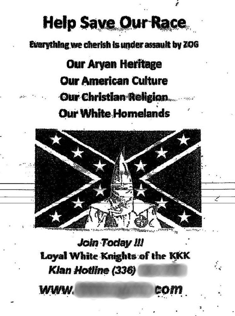 Similar flyers have turned up in other states in recent months as well, local reports said.