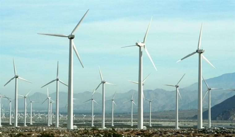 In this file photo, wind turbines generate power in San Gorgonio near Palm Spring California.