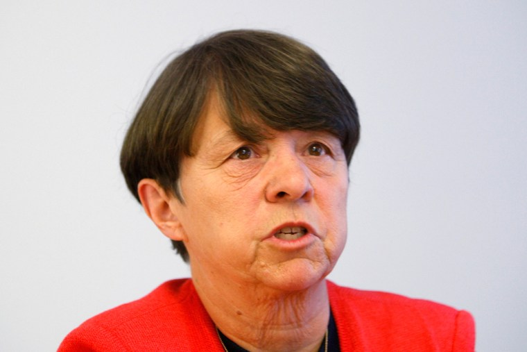 Mary Jo White, Partner Debevoise & Plimpton and former U.S. Attorney for the Southern District of New York, speaks during the Reuters Finanacial Regul...