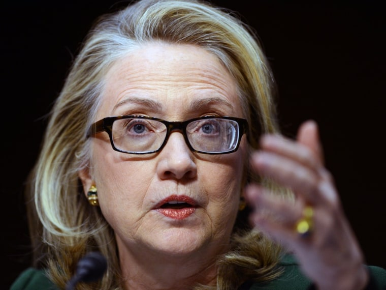 Secretary of State Hillary Clinton testifies before the Senate Foreign Relations Committee on the Sept.11, 2012 attack on the US mission in Benghazi, Libya, during a hearing on Capitol Hill in Washington, DC, on Jan. 23, 2013.