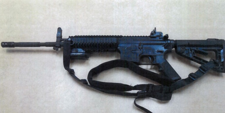 One of the 14 Colt LE6940 semiautomatic rifles purchased by the Fontana Unified School District to help provide security for the school, in California.