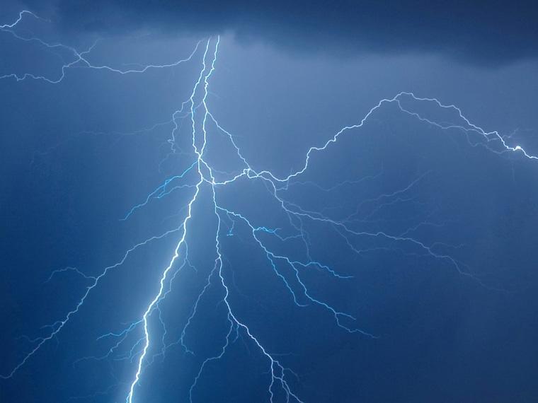 A lightning strikes over Danube river in the city of Bratislava, Slovakia in July.