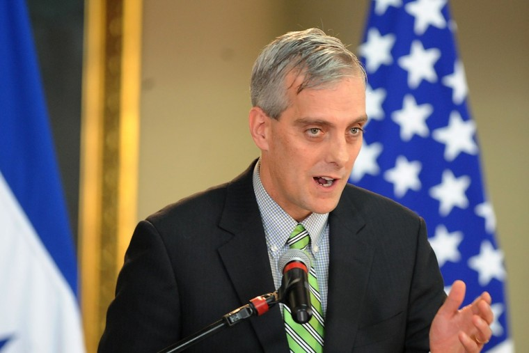 Denis McDonough, speaks to the press after meeting Honduran President Porfirio Lobo at the Government Palace in Tegucigalpa in this November 28, 2012 photo.