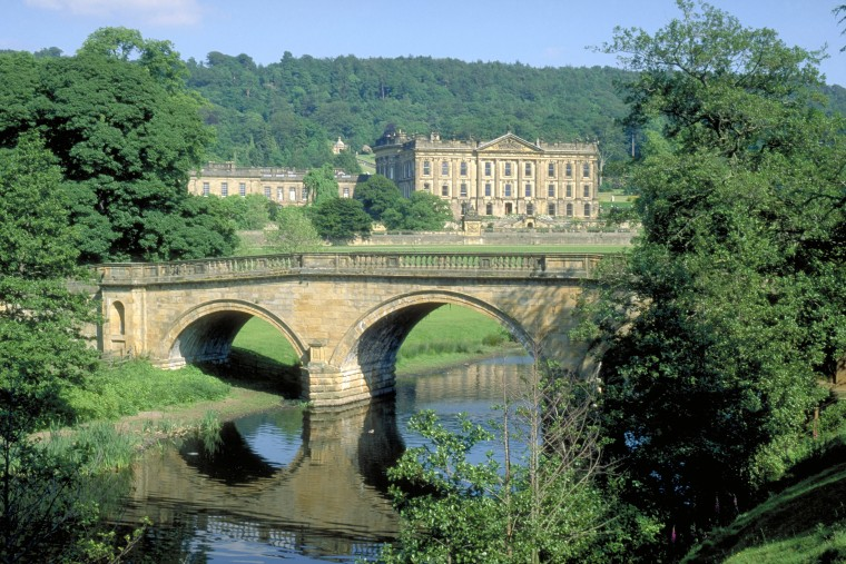 Chatsworth house and bridge over river