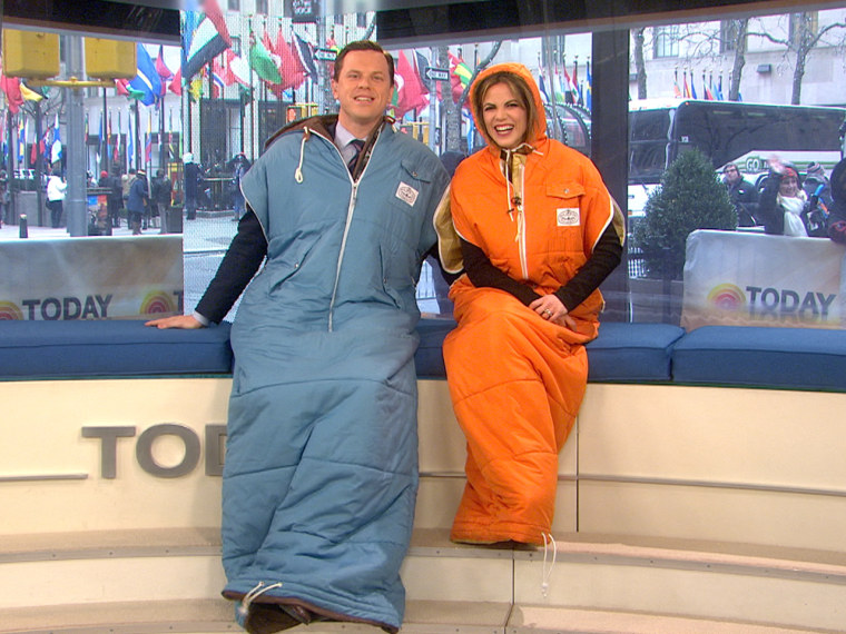 Willie and Natalie look rather fetching in the Snuggie-esque wearable sleeping bag.