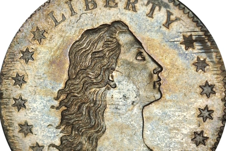 A Flowing Hair Silver Dollar, the first silver dollar struck by the United States Mint, is pictured in this undated handout photo obtained by Reuters ...