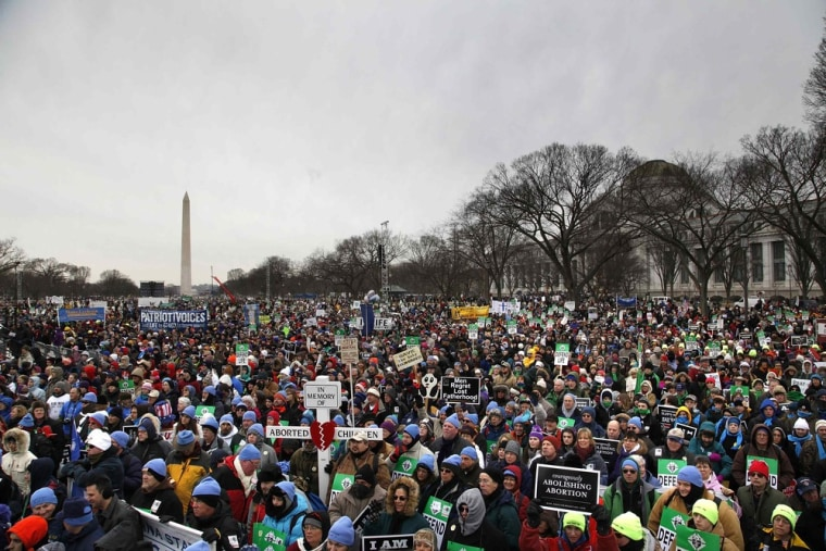 People participate in the annual March for Life rally on the National Mall in Washington, Jan. 25, 2013. The anti-abortion marchers on Friday marked the 40th anniversary of the Roe v. Wade U.S. Supreme Court ruling legalizing abortion, and Pope Benedict expressed support for the demonstrators.