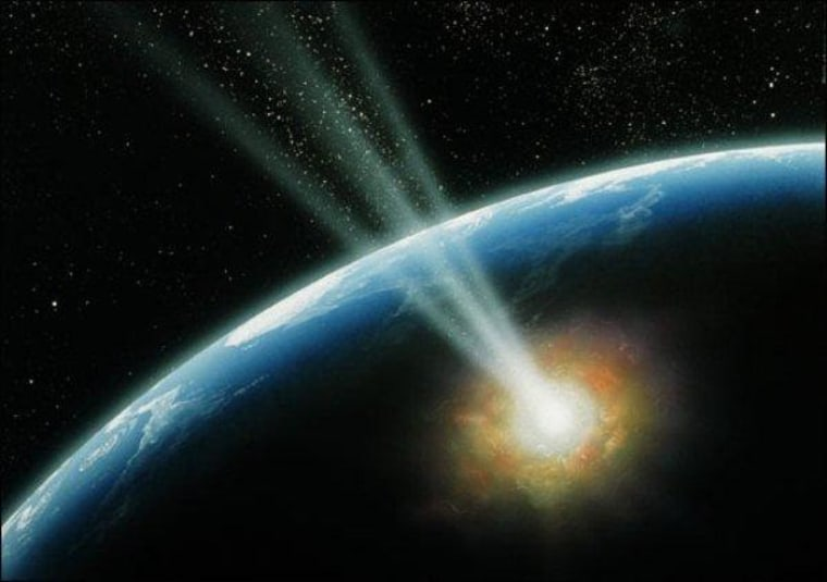 An artist's conception shows a cosmic impact on Earth. Comet impacts are harder to predict and more energetic, but asteroid impacts are much more common.