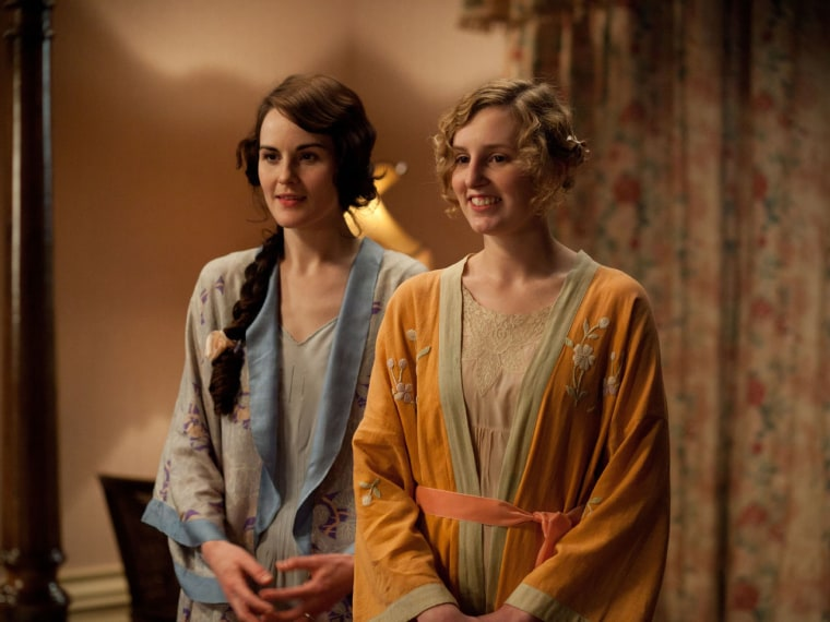 """Michelle Dockery is Lady Mary and Laura Carmichael is Lady Edith on """"Downton Abbey."""" The drama has spurred interest in Edwardian fashion, home furnishings and books about the era."""