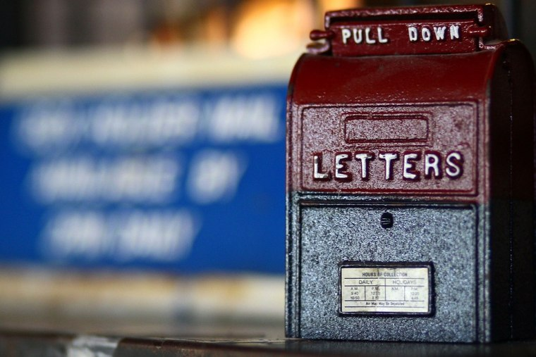 A miniature mailbox sits on the counter of the Ewell Post Office on August 22, 2011 in Ewell, Smith Island, Maryland.
