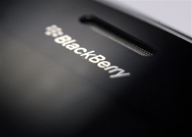 FILE - In this Sept. 9, 2008, file photo, the logo on a BlackBerry smartphone is shows in Bochum, Germany. The maker of the BlackBerry smartphone is ...