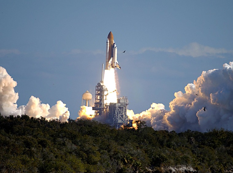 Space shuttle Columbia launches on mission STS-107 on Jan. 16, 2003.