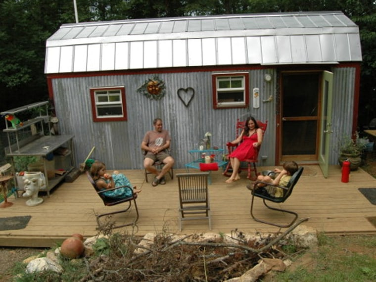 With such small indoor living space, the Berzin family spends a lot of time outside on their deck.